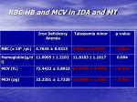 rbc hb and mcv in ida and mt