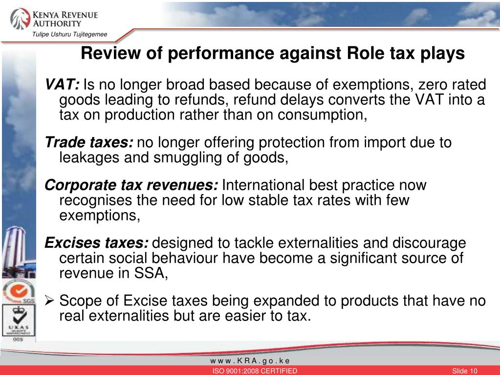 Review of performance against Role tax plays