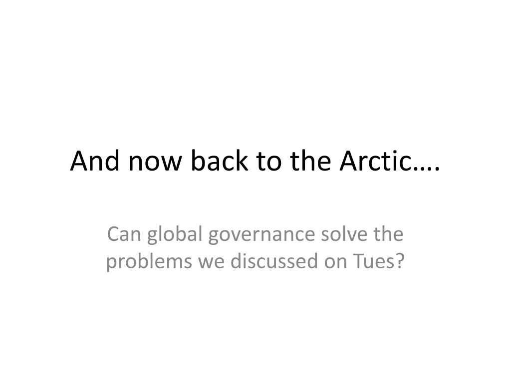 And now back to the Arctic….