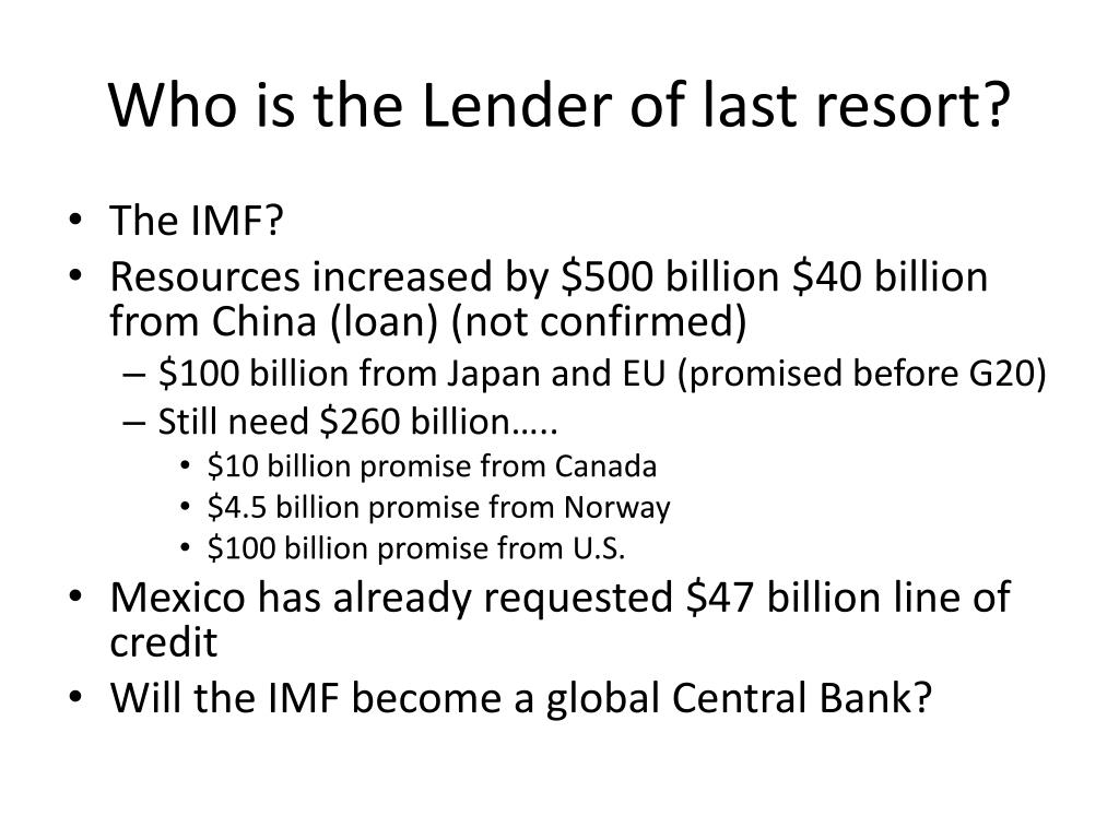 Who is the Lender of last resort?