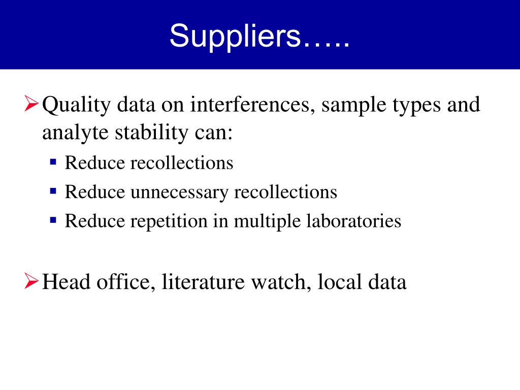 Suppliers…..