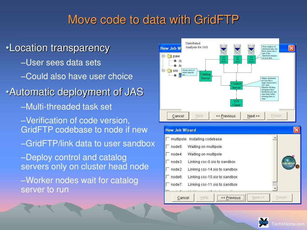 Move code to data with GridFTP