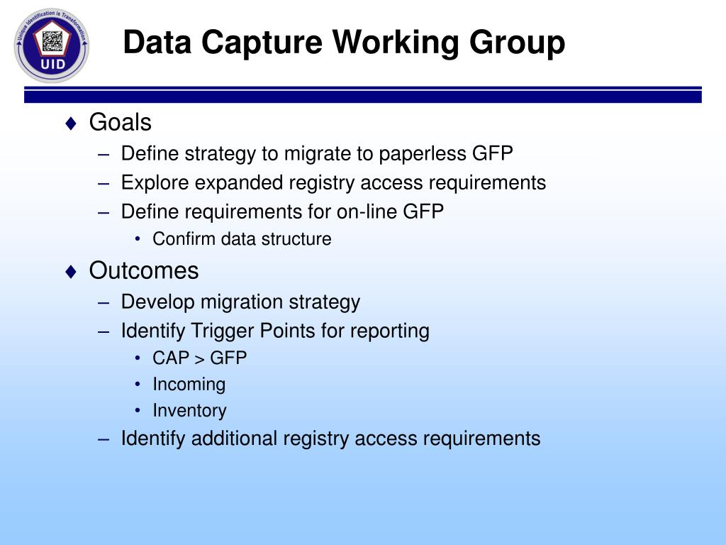 Data Capture Working Group
