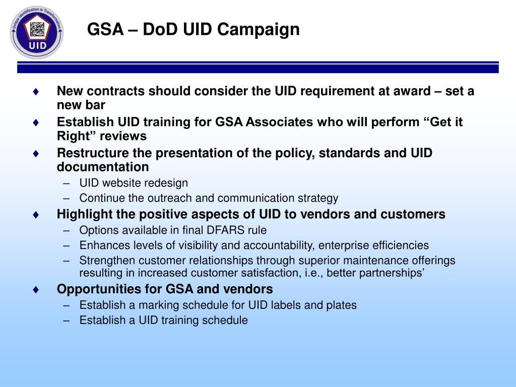 GSA – DoD UID Campaign