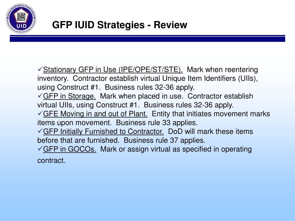 GFP IUID Strategies - Review