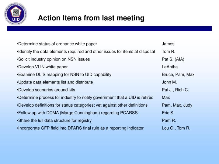 Action Items from last meeting