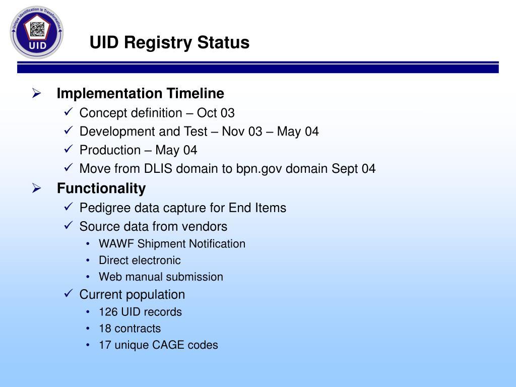UID Registry Status