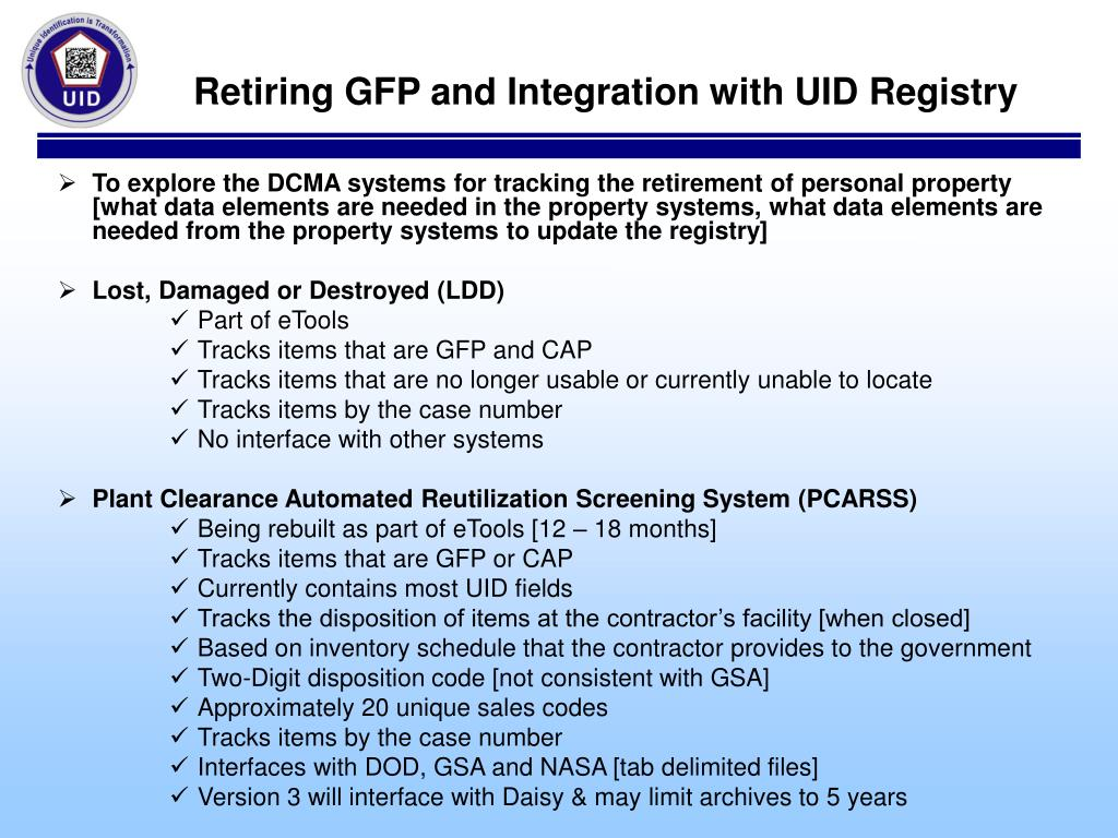 Retiring GFP and Integration with UID Registry