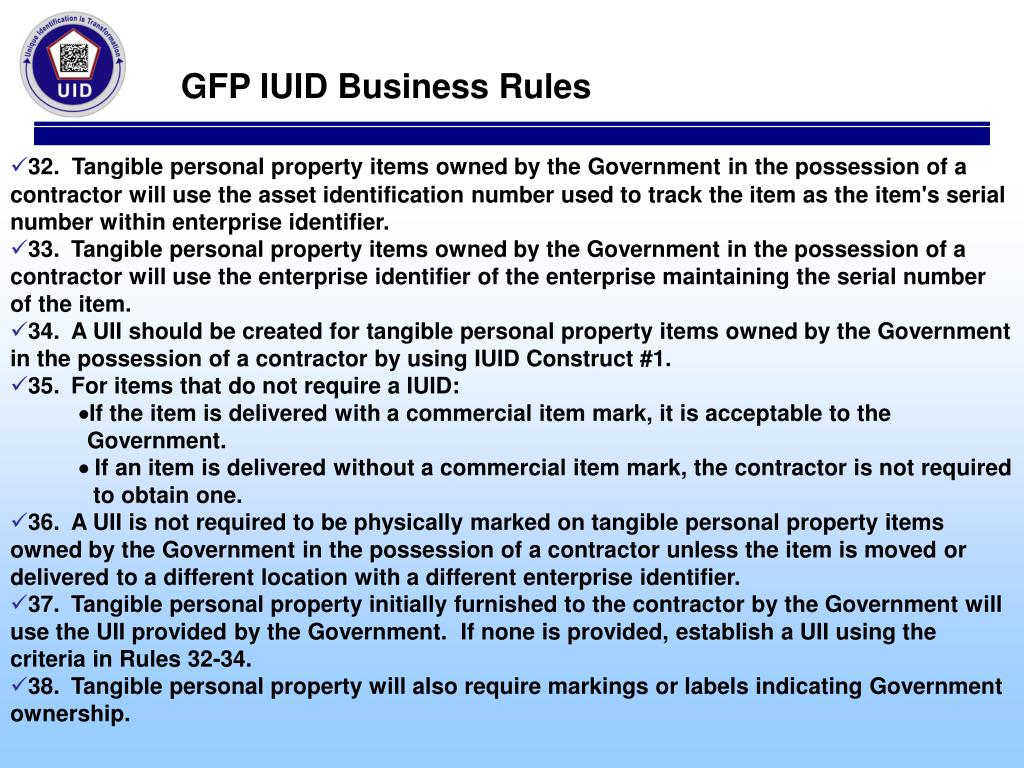 GFP IUID Business Rules