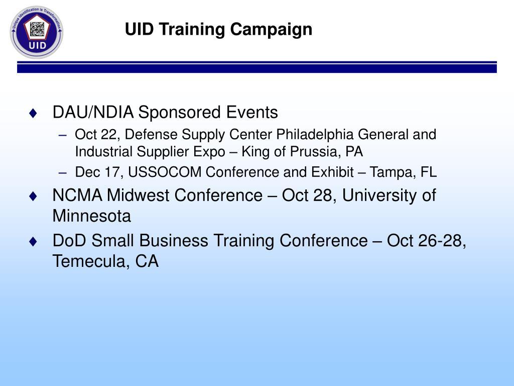 UID Training Campaign