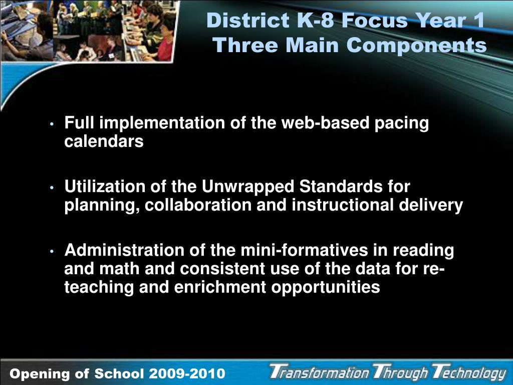 District K-8 Focus Year 1