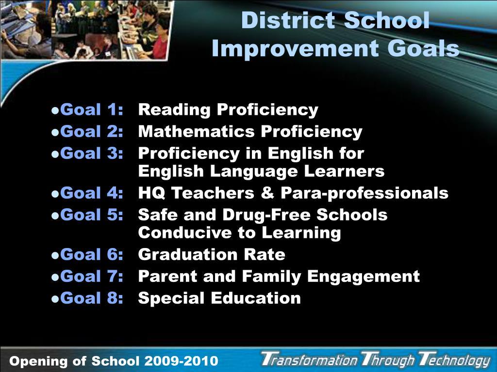 District School Improvement Goals