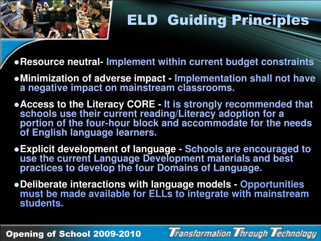 ELD  Guiding Principles