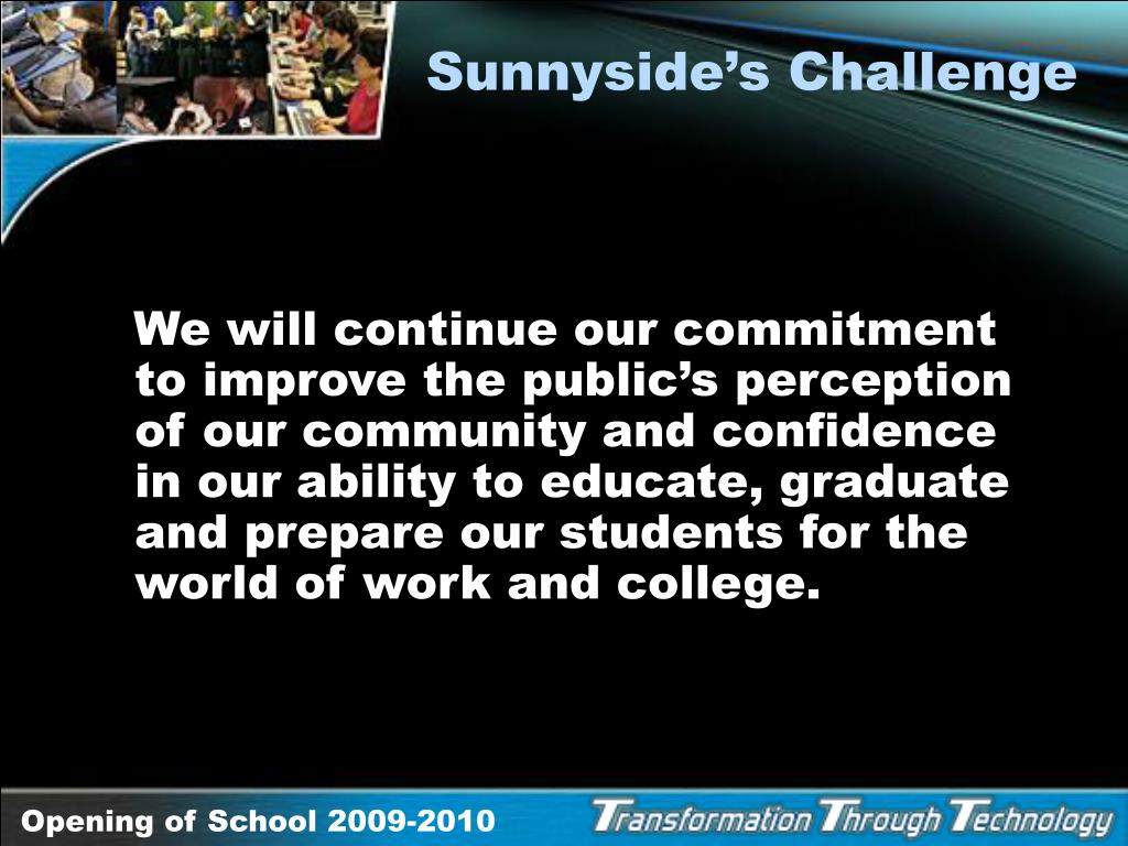 Sunnyside's Challenge