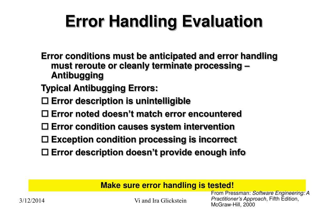 Error Handling Evaluation