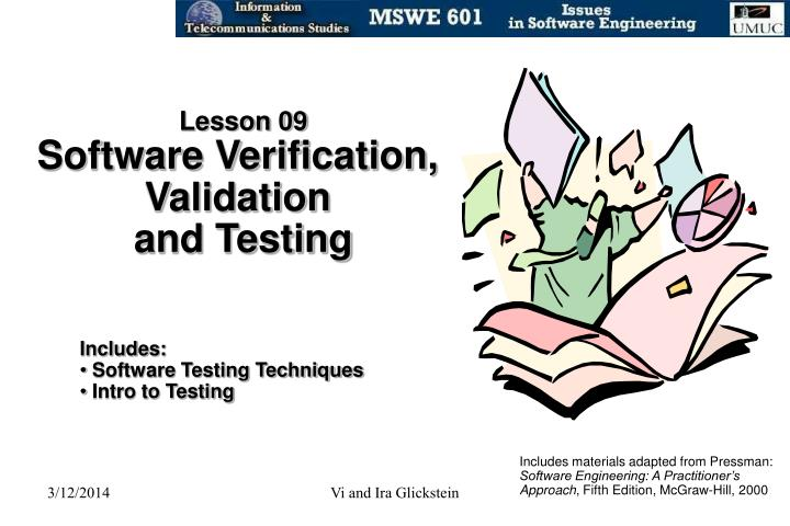 Lesson 09 software verification validation and testing
