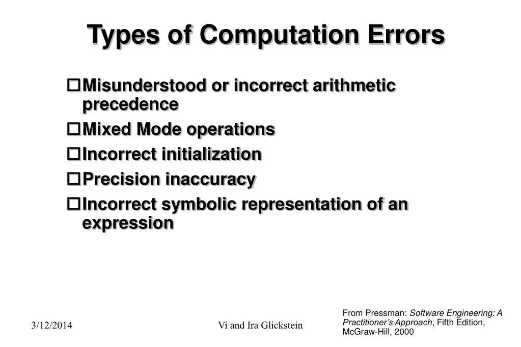 Types of Computation Errors