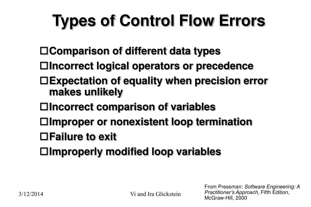 Types of Control Flow Errors