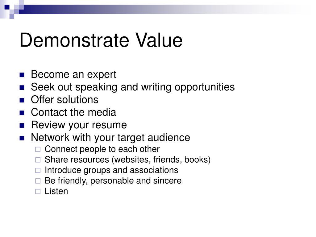 Demonstrate Value