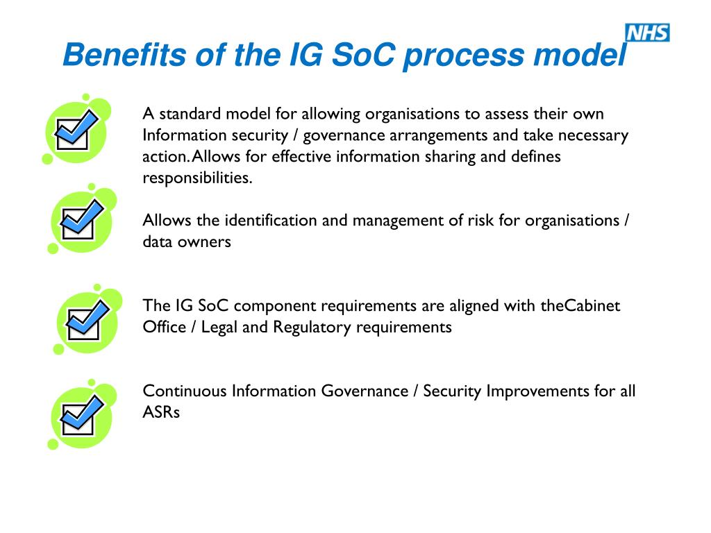A standard model for allowing organisations to assess their own Information security / governance arrangements and take necessary action. Allows for effective information sharing and defines responsibilities.