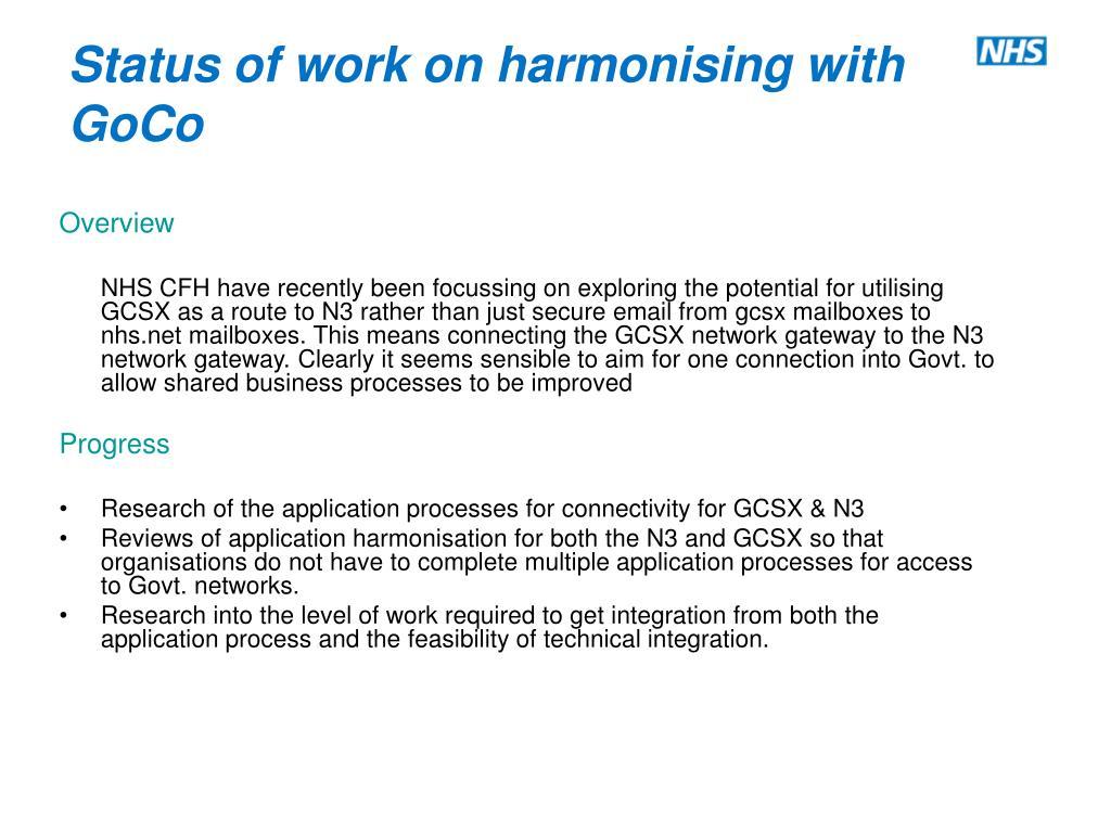 Status of work on harmonising with GoCo
