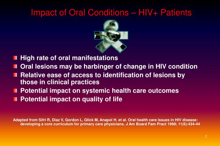 Impact of oral conditions hiv patients