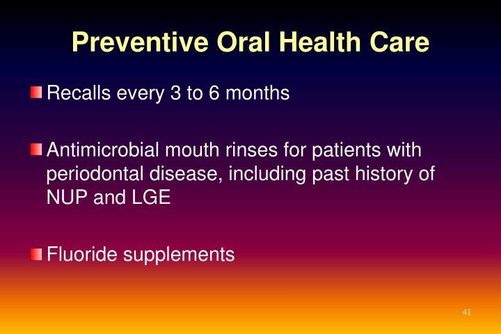 Preventive Oral Health Care