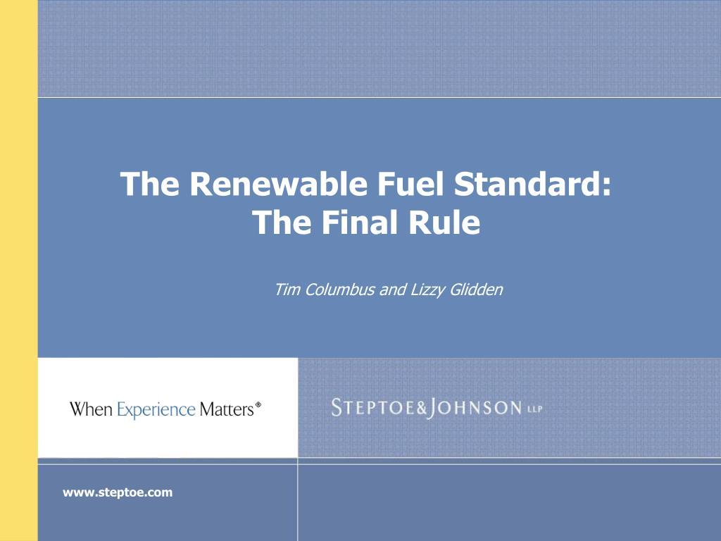 the renewable fuel standard the final rule l.