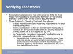 verifying feedstocks