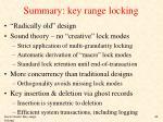 summary key range locking