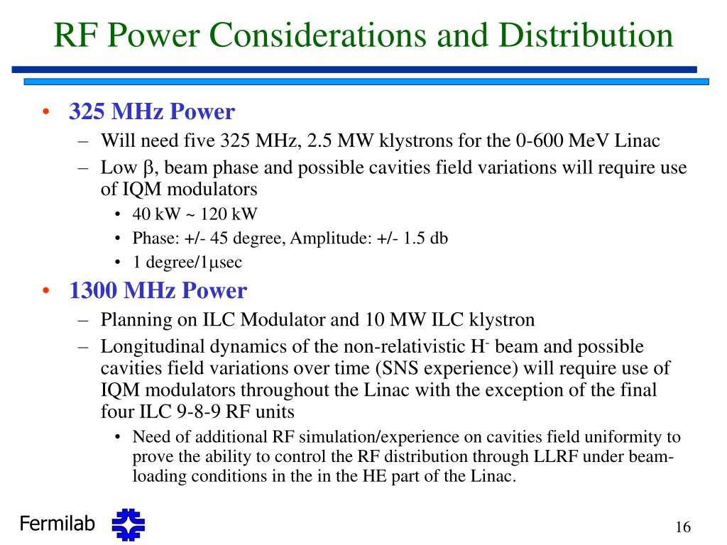 RF Power Considerations and Distribution