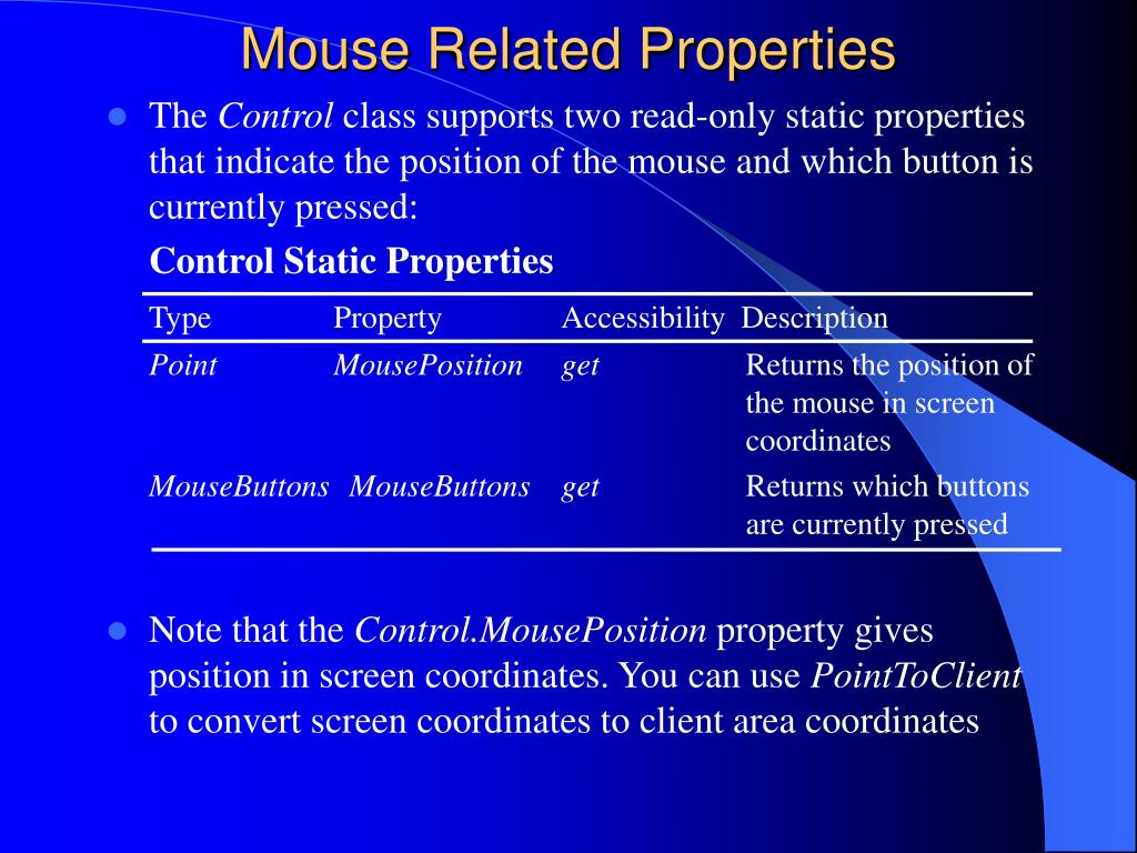 Mouse Related Properties