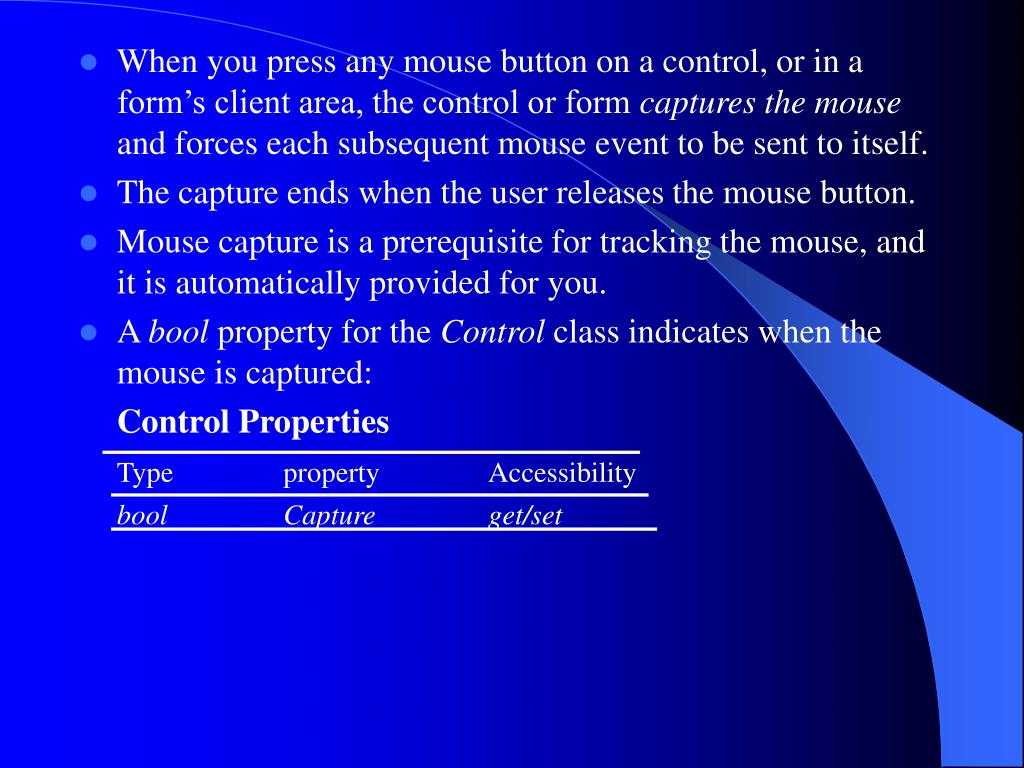 When you press any mouse button on a control, or in a form's client area, the control or form