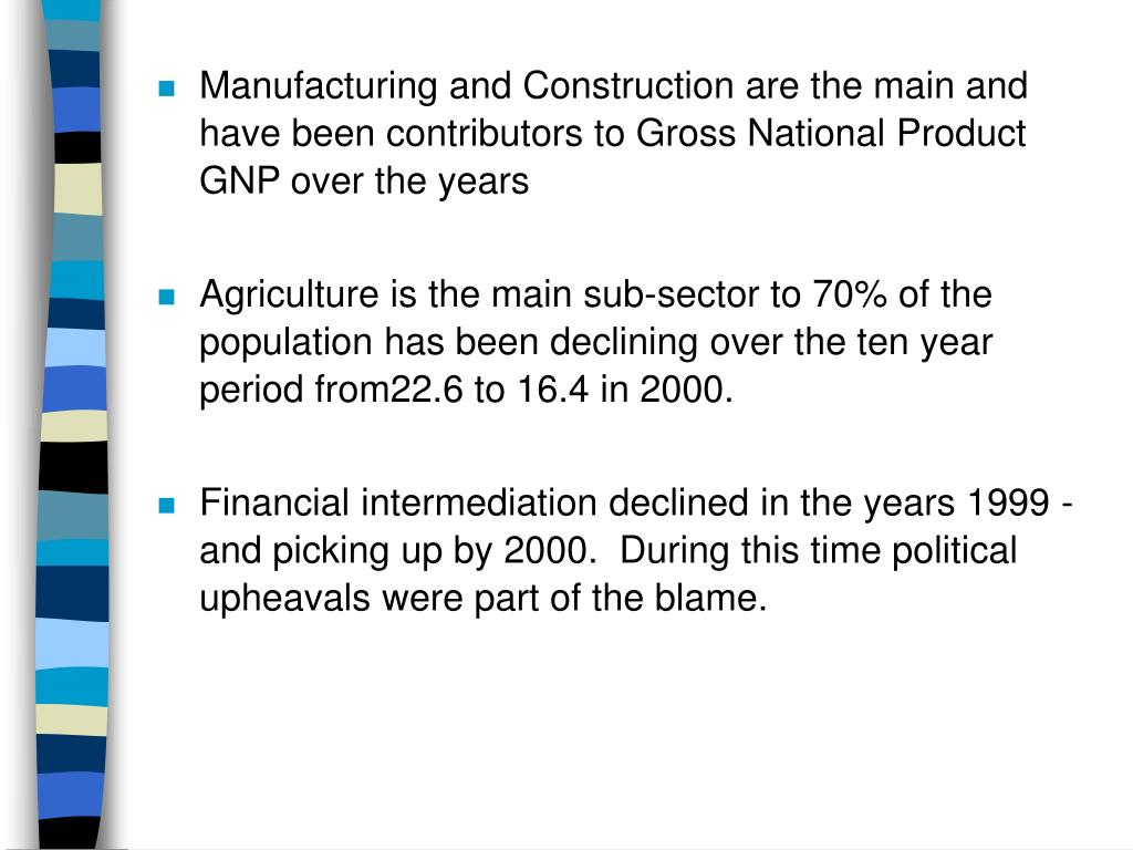 Manufacturing and Construction are the main and have been contributors to Gross National Product GNP over the years