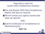 required to meet first quarter data completeness standard