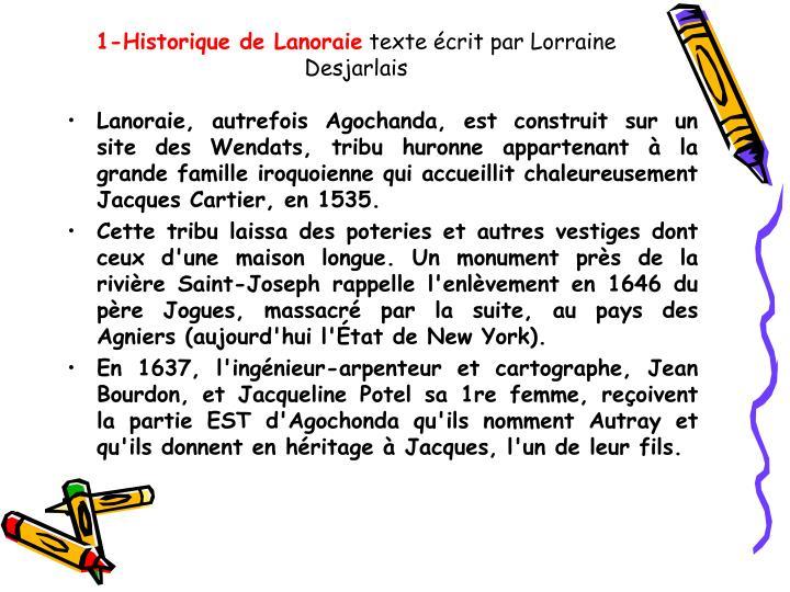 1 historique de lanoraie texte crit par lorraine desjarlais