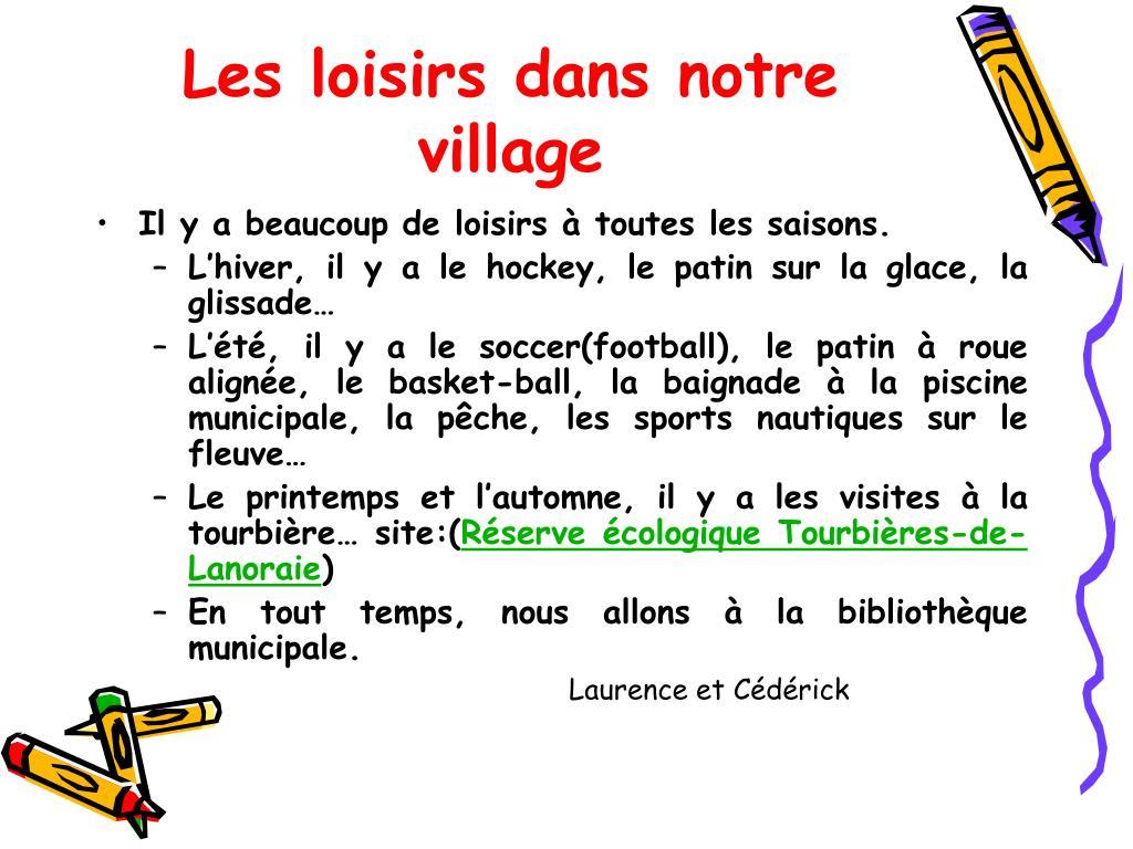 Les loisirs dans notre village