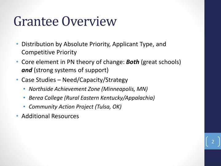 Grantee overview