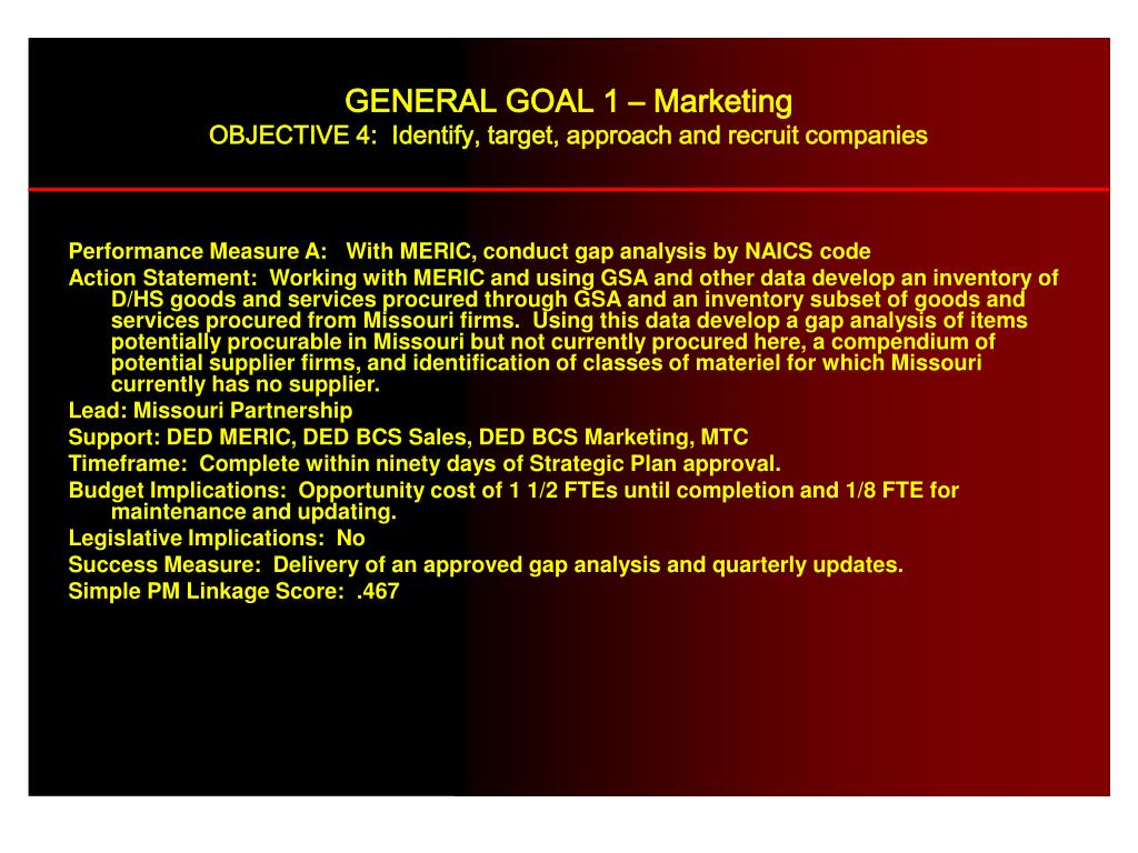 Performance Measure A:   With MERIC, conduct gap analysis by NAICS code