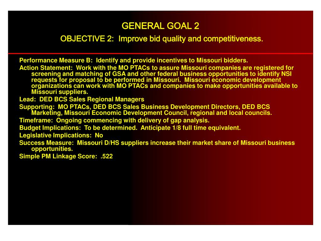 Performance Measure B:  Identify and provide incentives to Missouri bidders.
