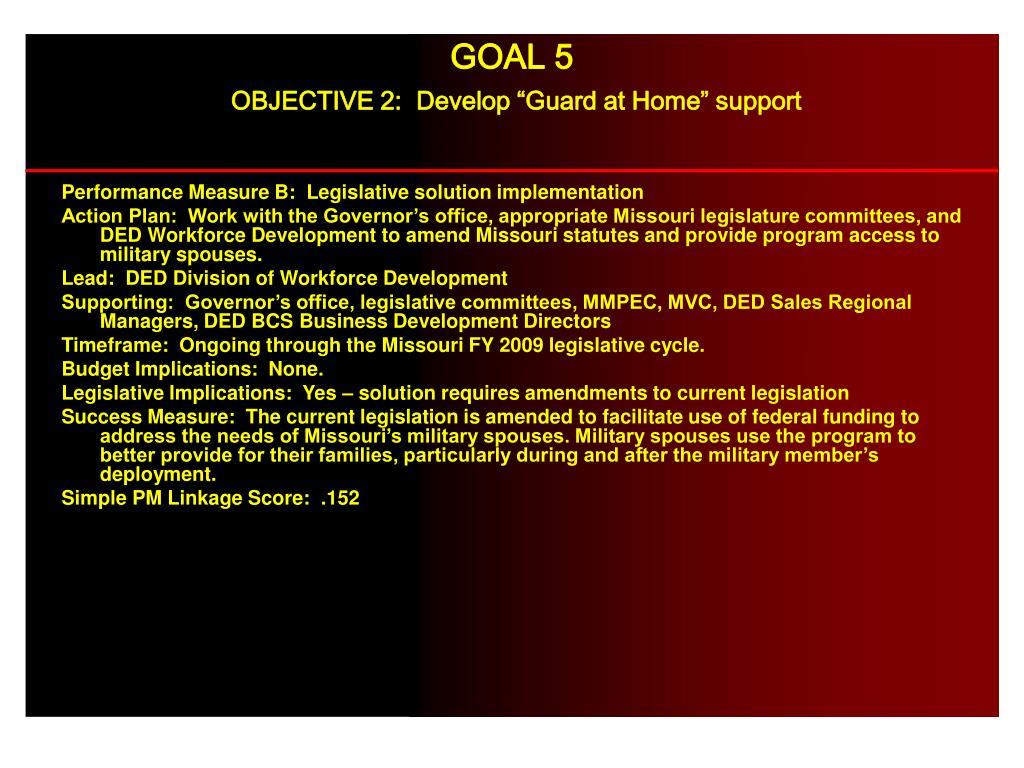Performance Measure B:  Legislative solution implementation