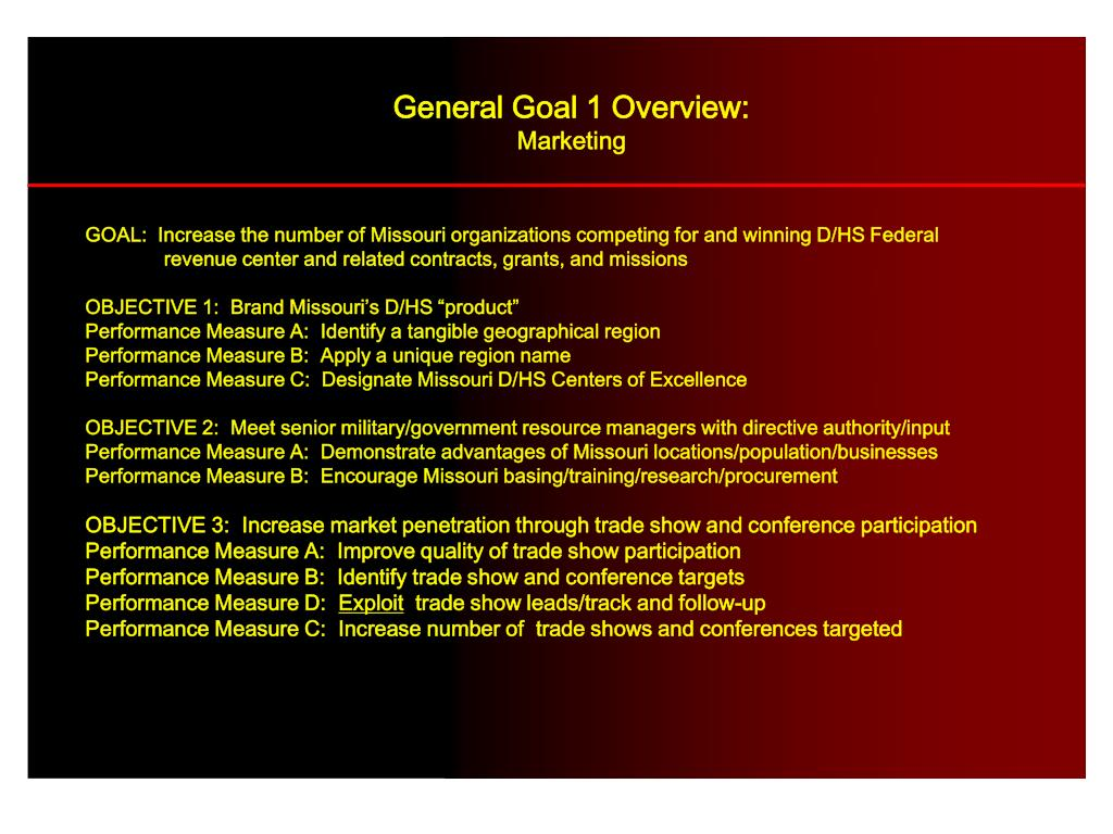 General Goal 1 Overview: