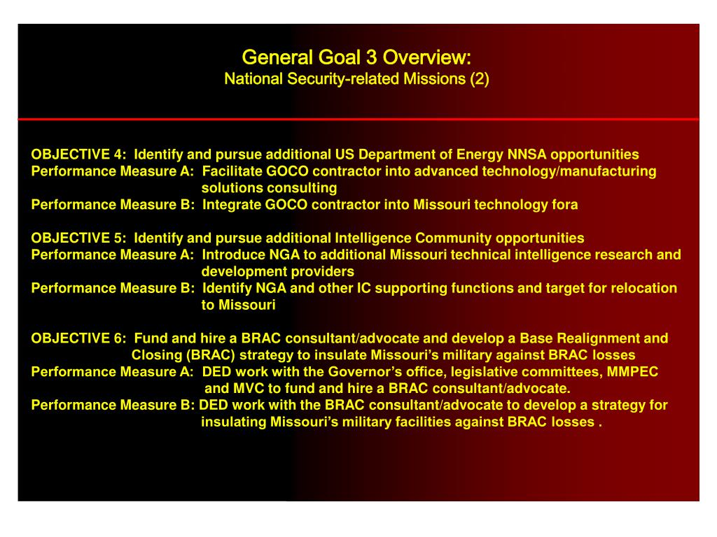 General Goal 3 Overview: