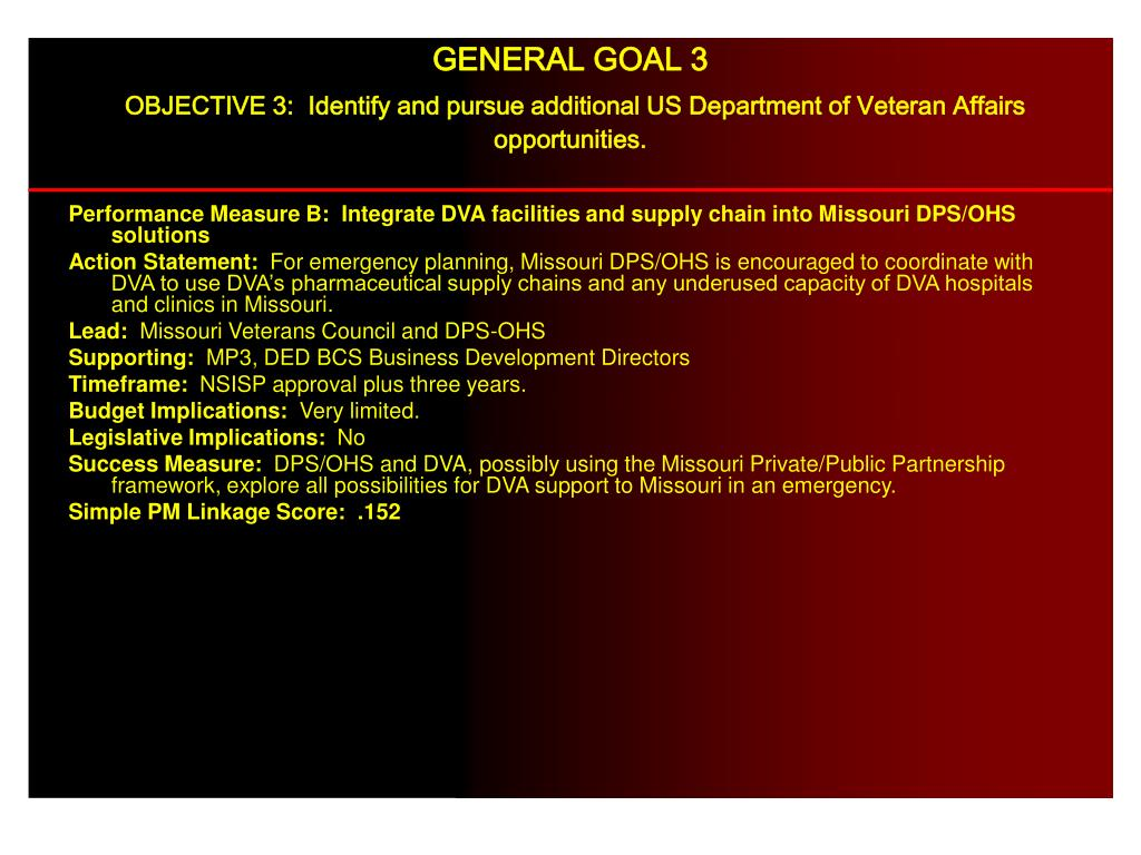 Performance Measure B:  Integrate DVA facilities and supply chain into Missouri DPS/OHS solutions