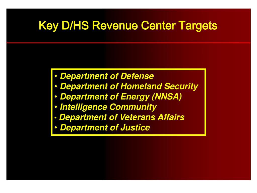 Key D/HS Revenue Center Targets