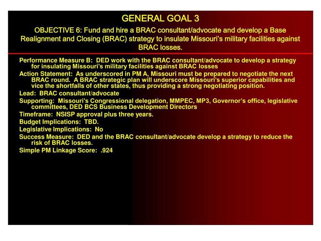 Performance Measure B:  DED work with the BRAC consultant/advocate to develop a strategy for insulating Missouri's military facilities against BRAC losses
