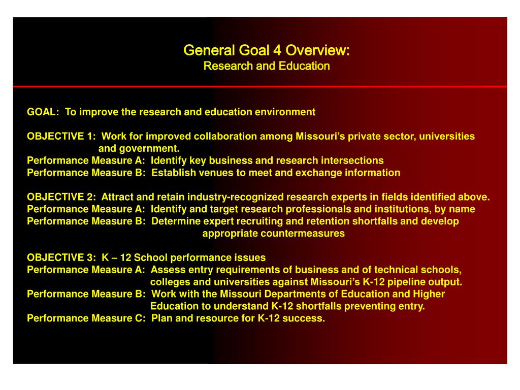 General Goal 4 Overview: