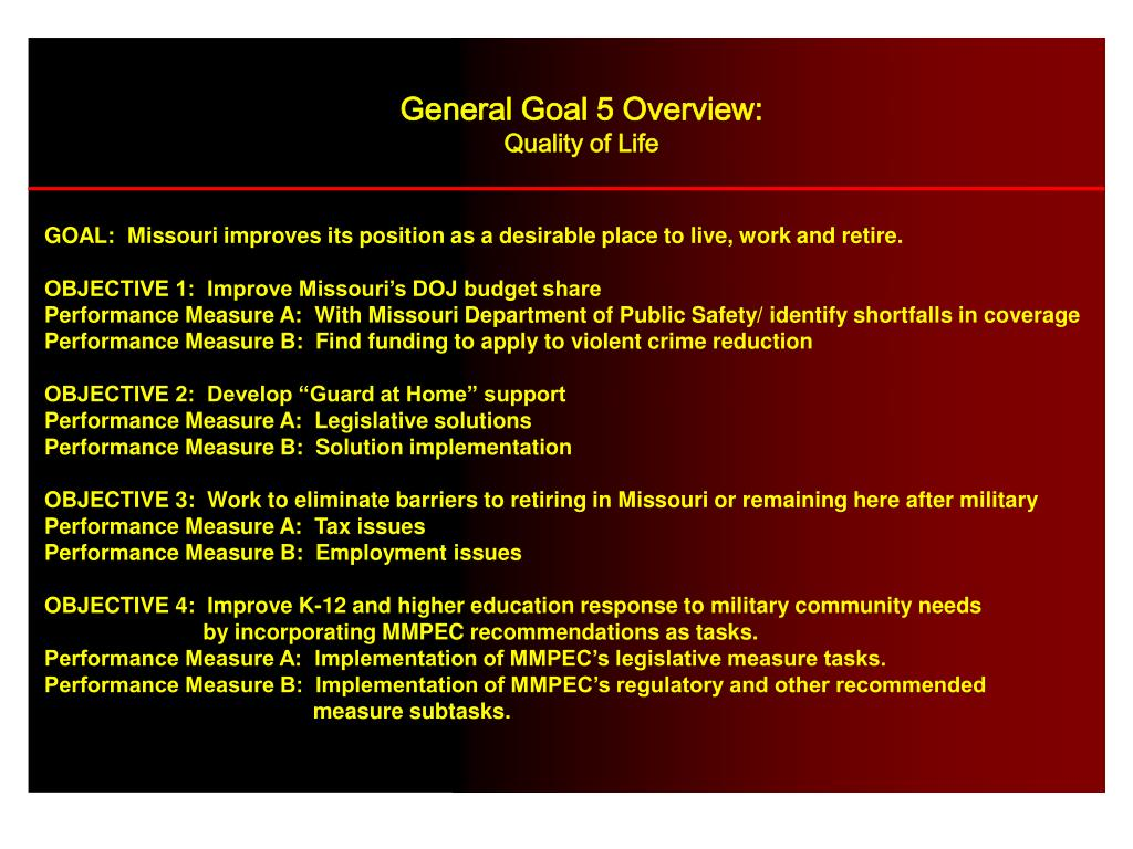General Goal 5 Overview: