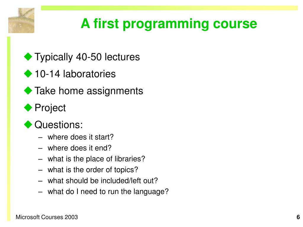 A first programming course