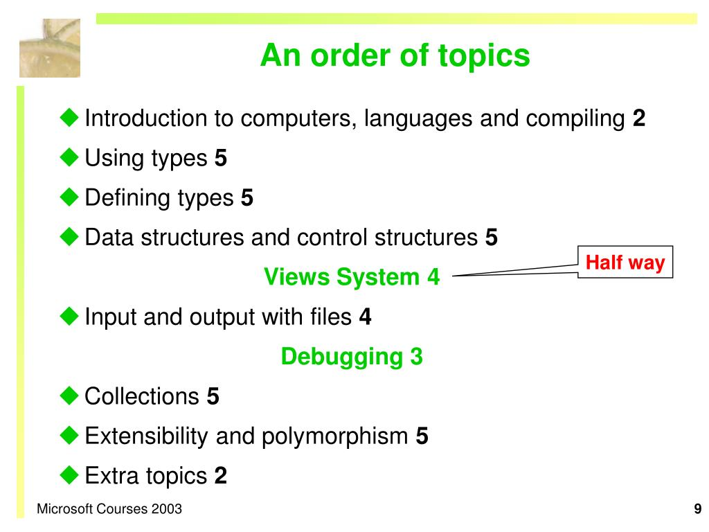 An order of topics
